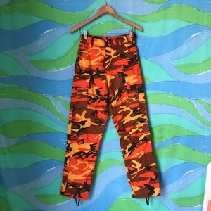 Pants - ORANGE CAMO CARGO PANTS